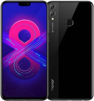 "Honor 8X Black (51092UTB) Kirin 710/4Gb/64Gb/6.5"" (2340*1080)/DualCam/NFC/LTE/3750mAh/175g/And8.0"